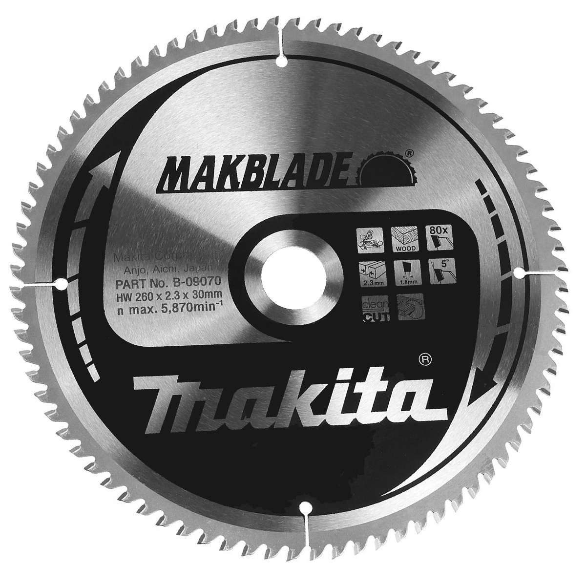 Пильный диск Makita MAKBlade 260 мм 80 зубьев (B-09070)