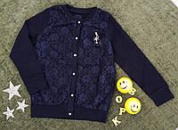 Кофта на девочку, вставка гипюр, р. 6-13 лет, темно синий