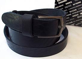 Кожаный черный мужской ремень