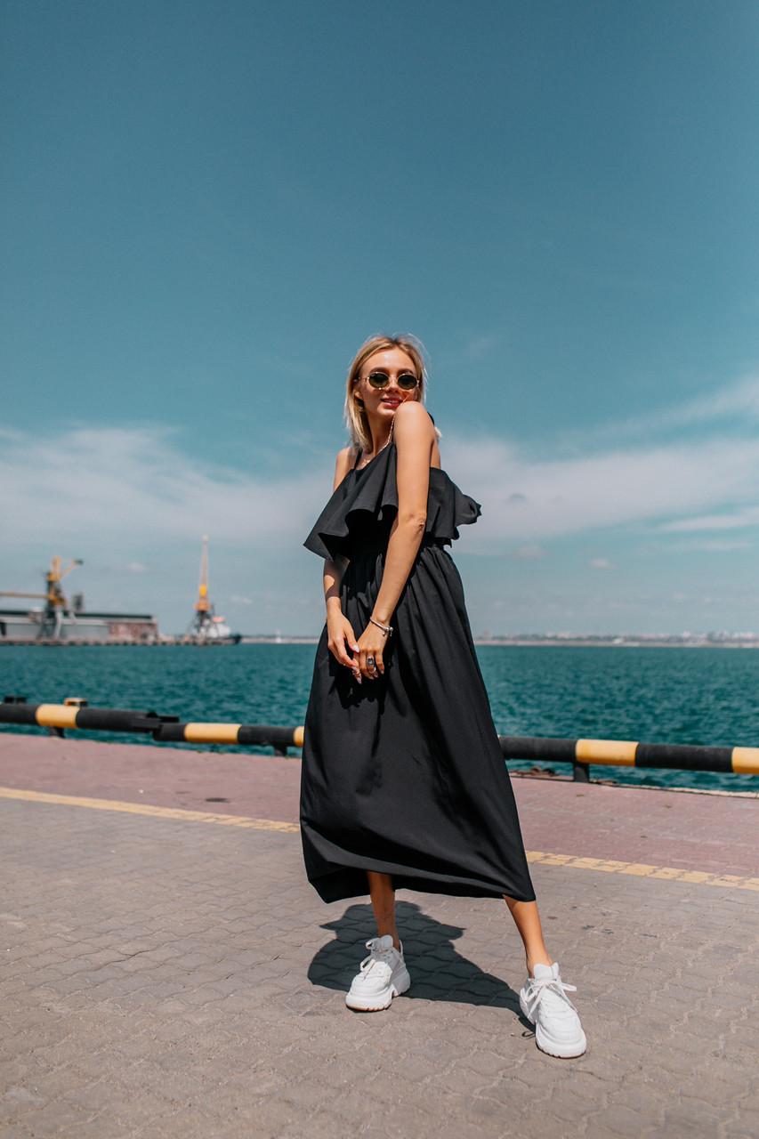 Воздушное платье (цвет - черный, ткань - софт) Размер S, M, L (розница и опт)