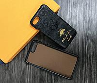 Пластиковый чехол для iPhone 7 / 8 кожа + карман черный