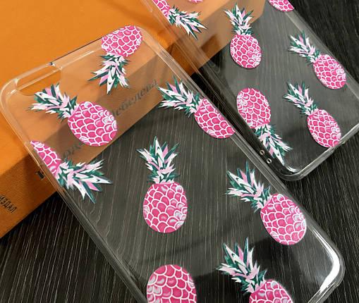 Силиконовый чехол для iPhone 7 / 8 Прозрачный с ананасами, фото 2