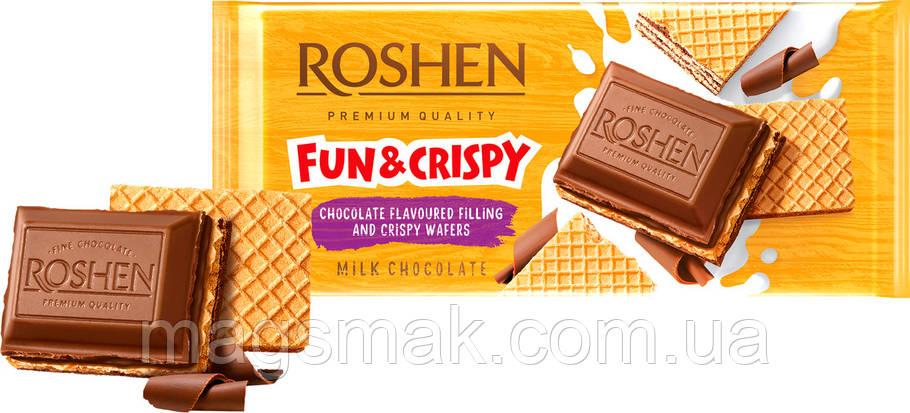 ШОКОЛАД Roshen молочный с шоколадной начинкой и вафлей 105г, фото 2