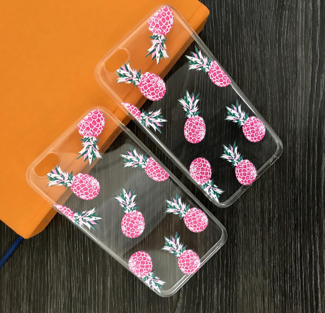 Силиконовый чехол iPhone 6 ананасы розовые 8 шт