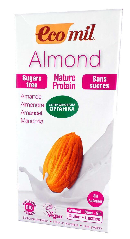 Органическое миндальное молоко без сахара с протеином Ecomil 1000 мл