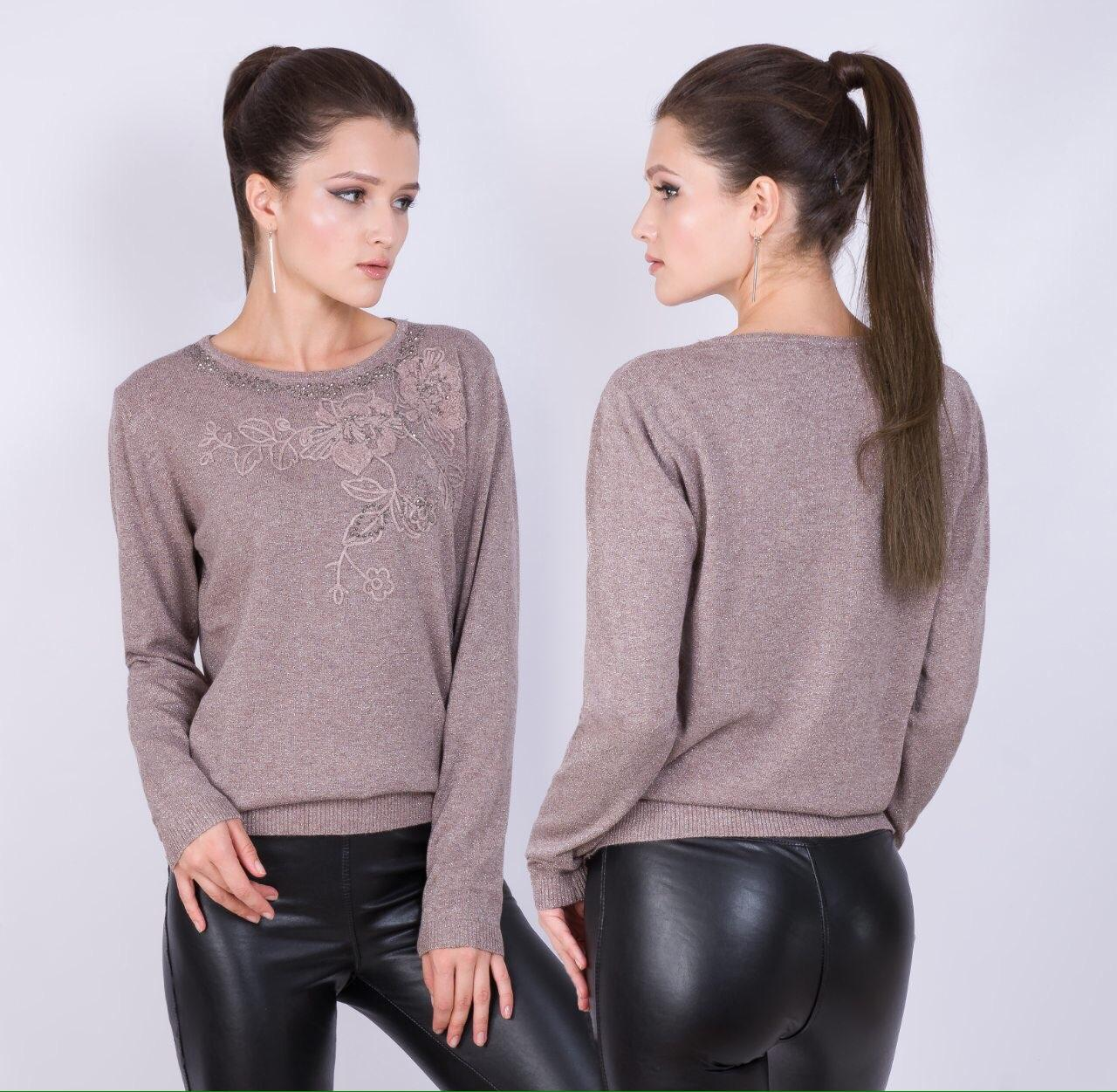 Нарядный свитер с трикотажными розами 46-48 (в расцветках)