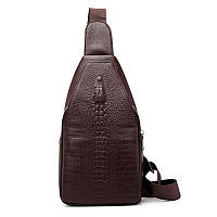 Мужская сумка на одно плечо, слинг Alligator. Коричневая / 2799-1