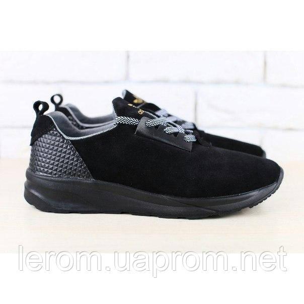 Мужские кроссовки, черные, из натуральной замши, с кожаными вставками, на шнурках