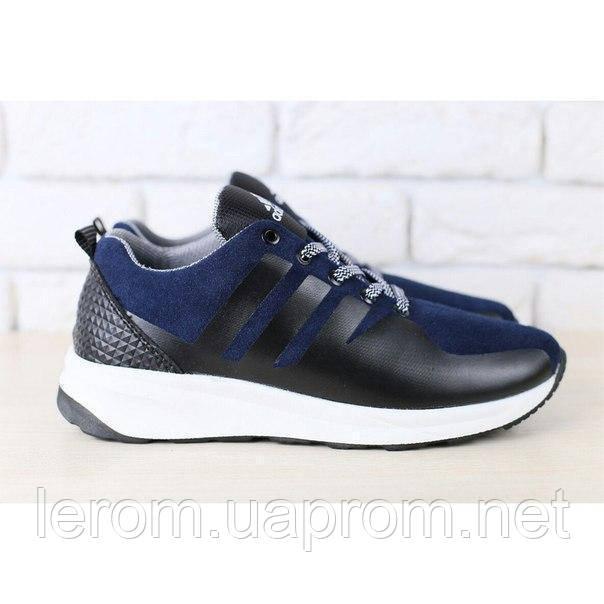 Мужские кроссовки, темно-синие, из натуральной замши, с кожаными вставками