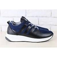 Мужские кроссовки, темно-синие, из натуральной замши, с кожаными вставками, фото 1