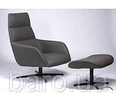 Крісло лаунж Berkeley з підставкою (Берклі) сірий графіт, Concepto