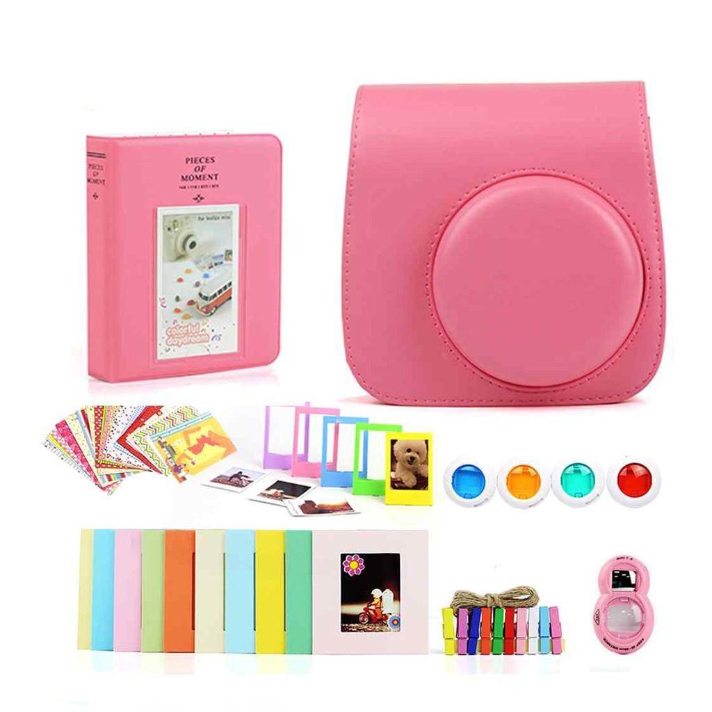 Набор для Камеры Fujifilm Instax Mini 8, 8+, 9 Чехол, Линзы, Рамки, Альбом, Стикеры от CAIUL Розовый