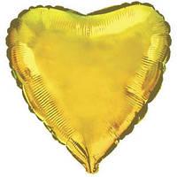 Фольгированный шар Ультра Сердце 30см х 76 см Золотой