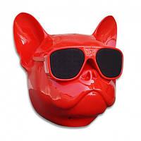 Собака колонка беспроводная Bluetooth S3 dog «CoolDog Французский Бульдог», Цвет красный