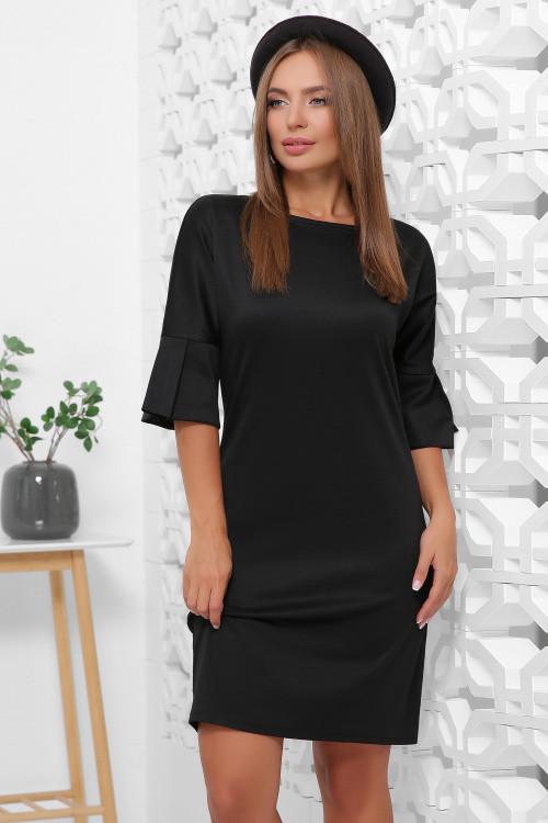 Осеннее платье футляр на каждый день длина миди цвет черный