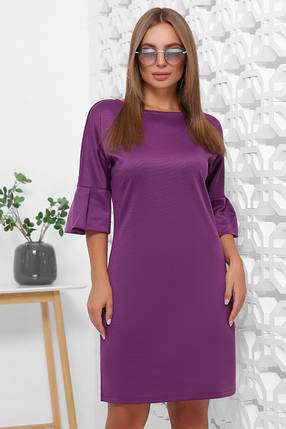 Прямое платье средней длины рукав три четверти цвет горчичный, фото 2