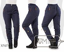 Зимові штани жіночі на флісі ТЖ/-033 - Темно-синій