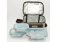Термосумка + 3 стеклянных судочка (можно греть в микроволновке) (2х400 мл + 1х1050 мл)