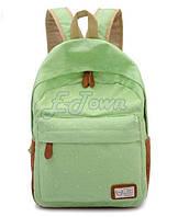 """Стильный городской рюкзак """"В горошек"""", зелёный ,высококачественный,  фабричный!"""