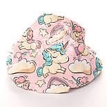 """Отрез фланели """"Единороги с радугой"""" на розовом, размер 25*160 см, фото 4"""
