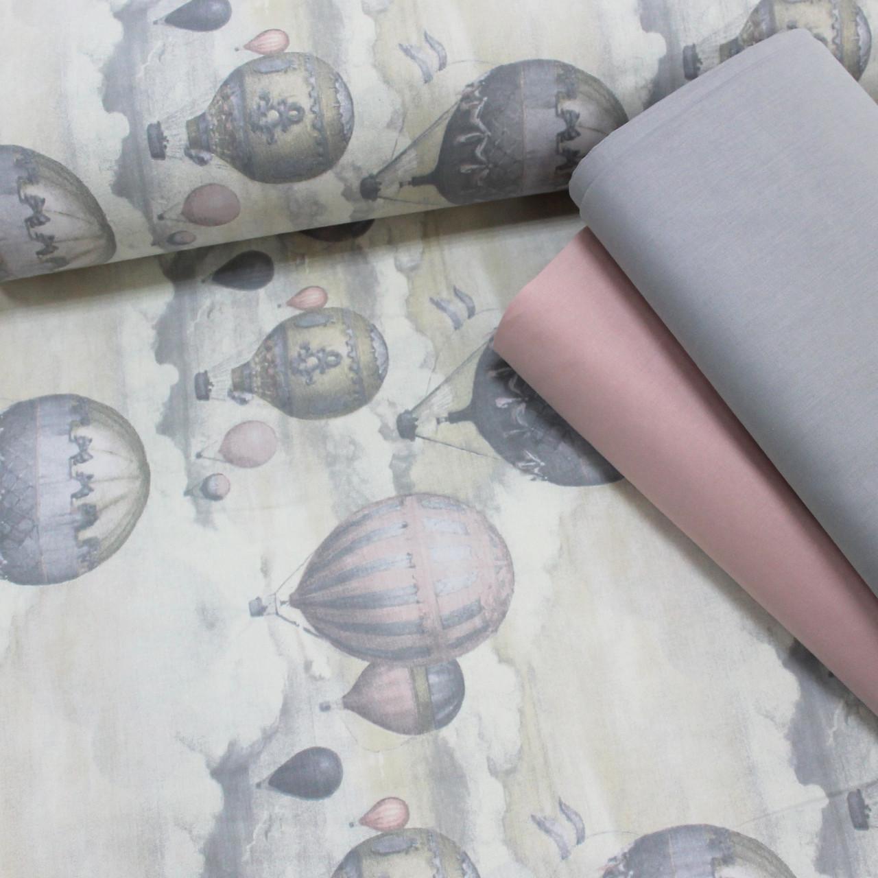 Хлопковая ткань (ТУРЦИЯ шир. 2,4 м) воздушные шары на светло-сером