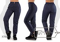 Теплые женские штаны из плащевки на флисе ТЖ/-034 - Темно-синий, фото 1