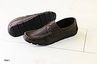 Мужские кожаные мокасины коричневые, фото 1