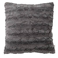 Декоративная подушка серая, иск.мех, фото 1