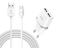 Адаптер-вилка на два порта на Андроид с USB кабелем со штекером MICRO для зарядки телефонов и других устройств
