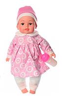 Пупс игрушечный в розовой одежде с бутылочкой M 3887 UA LIMO TOY мягконабивной, музыкально-звуковой | куколка