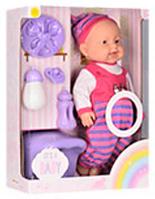 Пупс игрушечный в темно-розовой одежде + посуда и горшок 6115 AC   детская куколка
