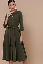 Демисезонное платье на каждый день до колен с поясом цвет хаки, фото 3
