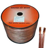 Кабель акустический 2х2 медь прозрачно-розовый Sound Star Цена за 100м