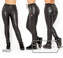 Жіночі штани з еко-шкіри на флісі ТЖ/-036 - Чорний