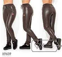 Жіночі штани з еко-шкіри на флісі ТЖ/-036 - Коричневий