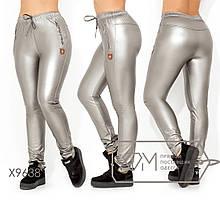 Жіночі штани з еко-шкіри на флісі ТЖ/-036 - Сірий