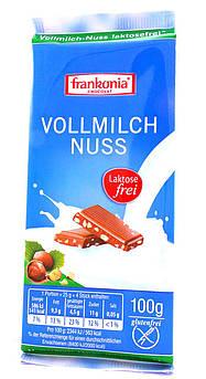 Молочный шоколад без лактозы с кусочками орехов Frankonia 100 г