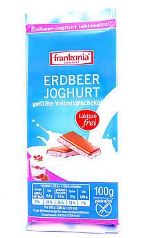 Молочный шоколад без лактозы с клубничным йогуртом Frankonia 100 г