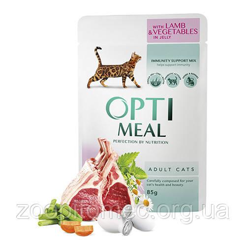 Консерва для кошек ягненок с овощами в желе Optimeal (Оптимил) Защита иммунитета 85 г