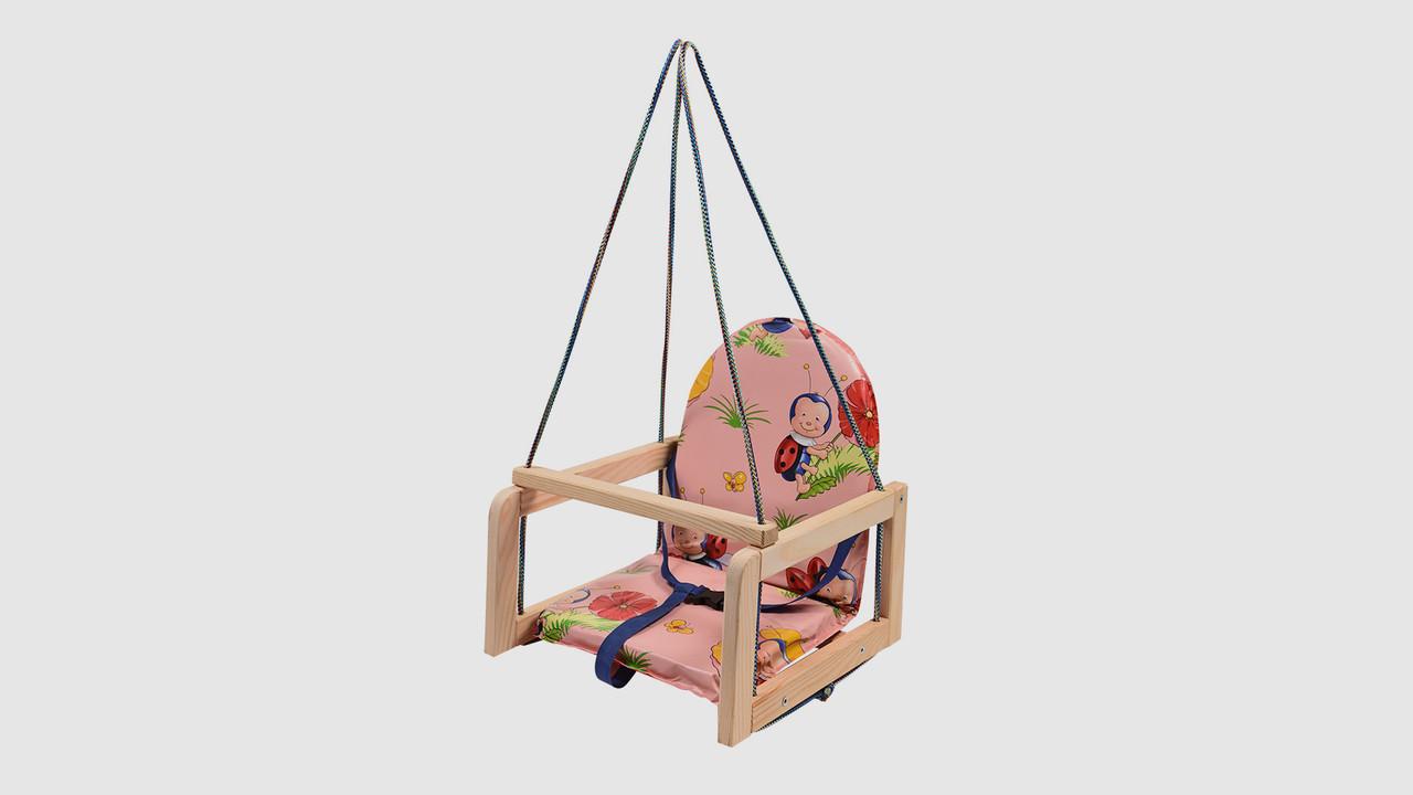 Качель детская деревянная на веревках.V701-1. Розовый. Божья коровка