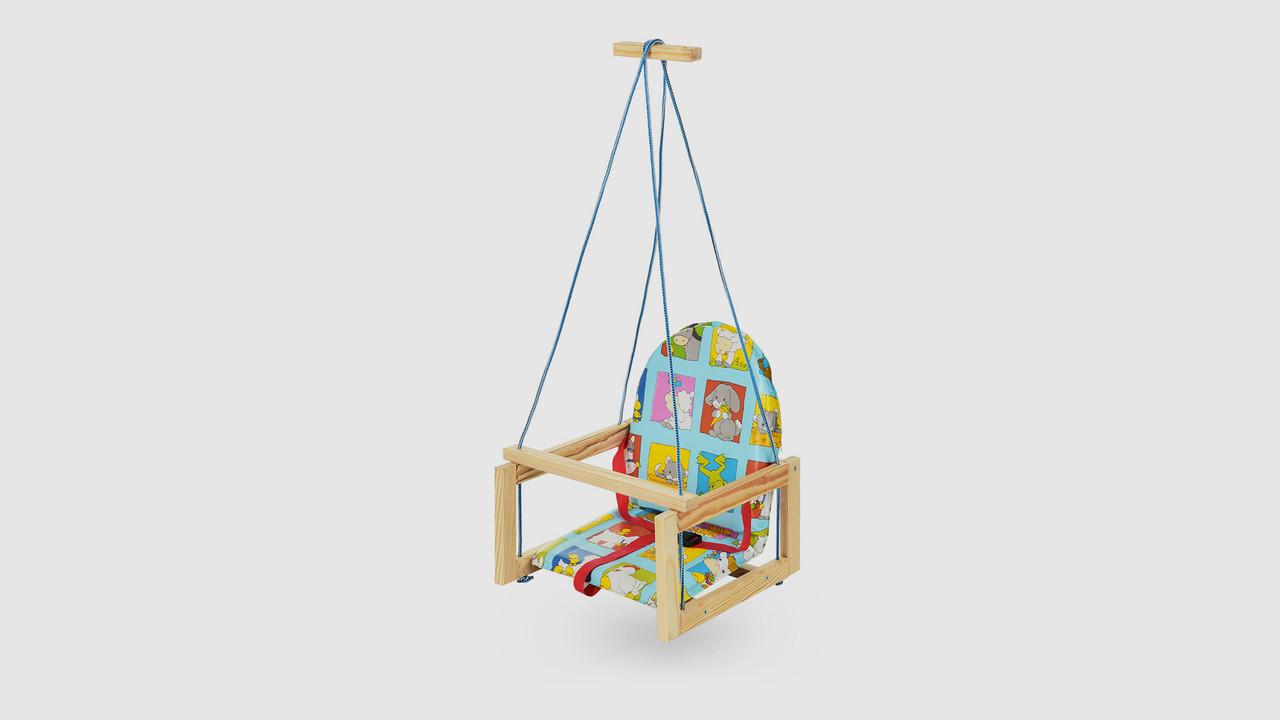 Качель детская деревянная на веревках.V701-10. Бирюзовый. Звери