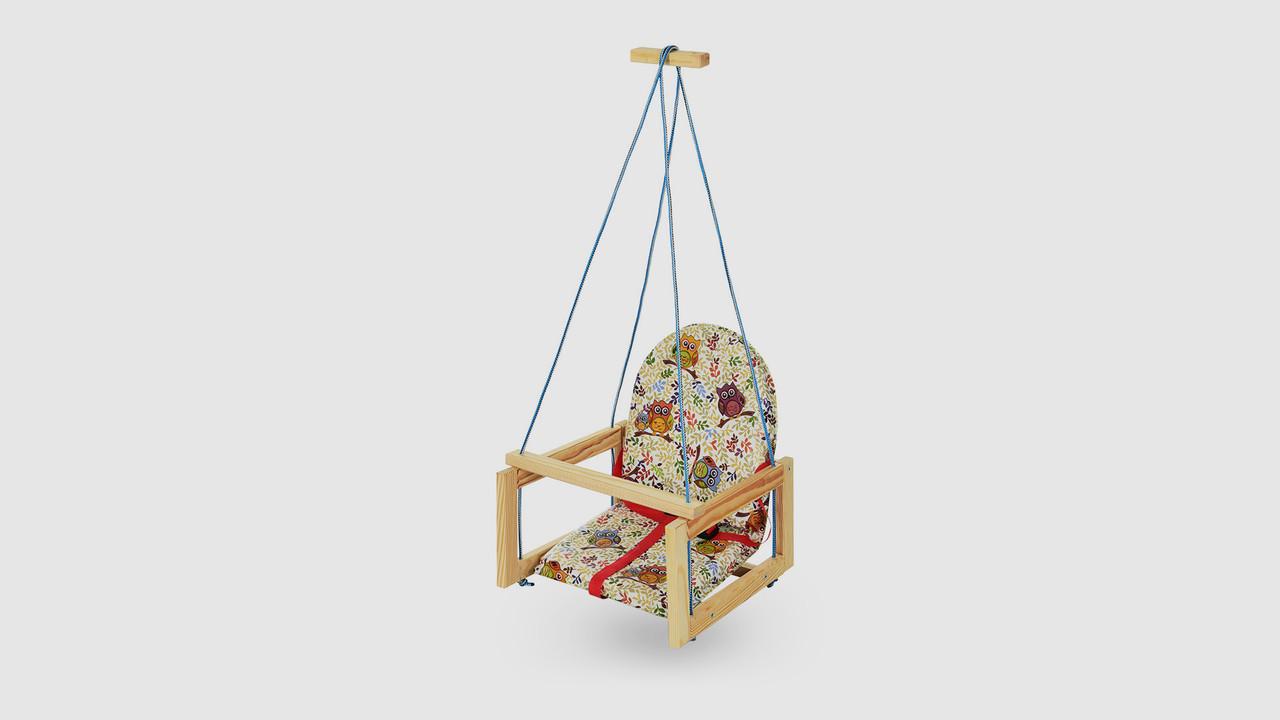 Качель детская деревянная на веревках.V701-8.Совы