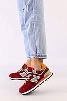 Женские бордовые замшевые кроссовки с оранжевыми кожаными вставками, фото 1