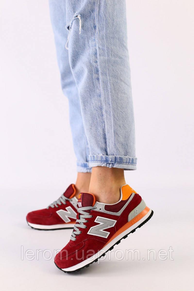 Женские бордовые замшевые кроссовки с оранжевыми кожаными вставками