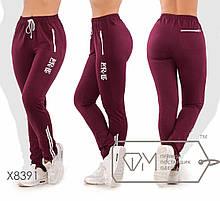 Спортивні штани жіночі великих розмірів ТЖ/-037 - Бордовий