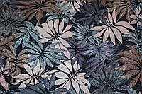Ткань Ангора софт принт , шоколадно-пудровые листья пог. м., №1344