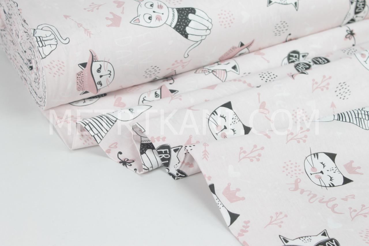 """Ткань для постельного белья ранфорс  """" Котики в коронах и очках """" на бледро-розовом   Турция 240 см"""