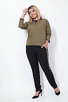 Женский костюм с брюками и рукавом реглан, оливка. Размеры: 48, 50, 52, 54, фото 3