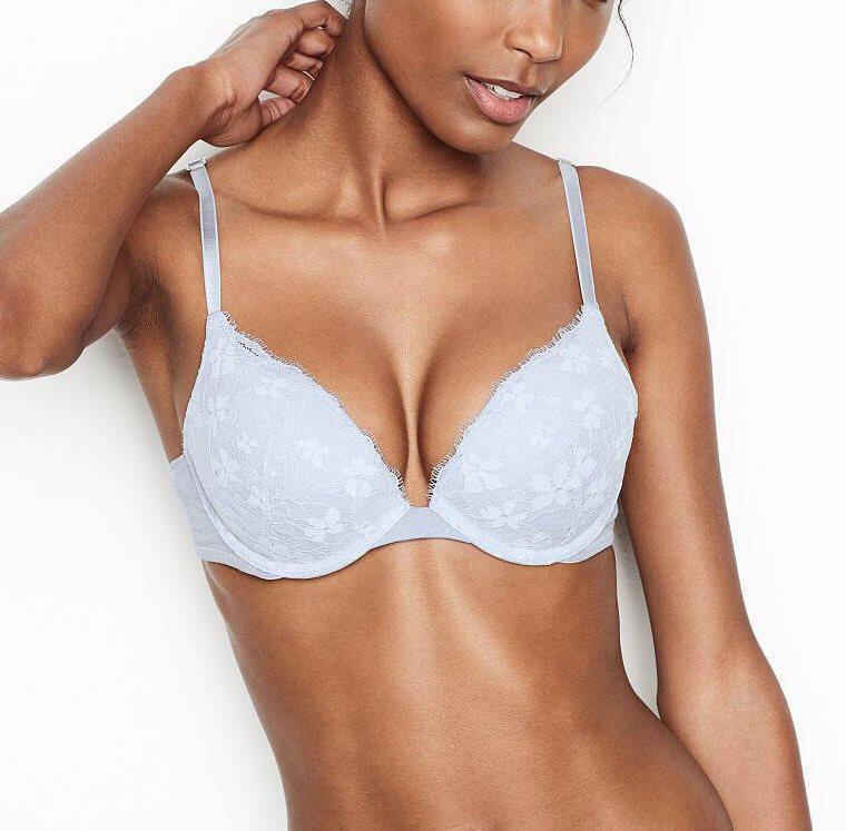💋 Кружевной Бюстгальтер Пуш-ап Victoria's Secret Chambray Push-Up Bra 80C, Голубой