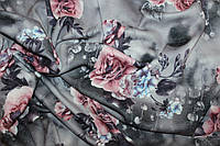Ткань Ангора софт принт , роза фон серый пог. м., №1345
